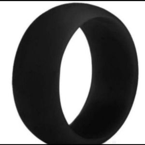 Men's Black Rubber Silicone Ring Size 11